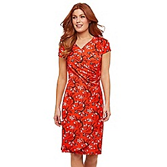 Joe Browns - Red Floral Jersey 'Summer Nights' V-Neck Knee Length Wrap Dress