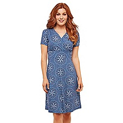 Joe Browns - Blue Mosaic Jersey V-Neck Knee Length Wrap Dress