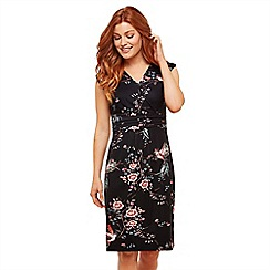 Joe Browns - Black Floral Jersey 'Amazing' V-Neck Knee Length Bodycon Dress