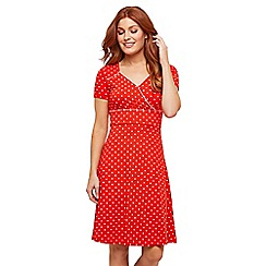 Joe Browns - Red Polka Dot Jersey V-Neck Knee Length Tea Dress