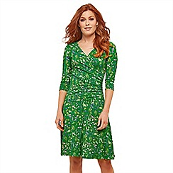 Joe Browns - Green Floral Jersey 'Dreamy' V-Neck Knee Length Wrap Dress