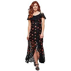 Joe Browns - Black Floral Lace 'Fruity Flamenco' Bardot Neck High Low Dress