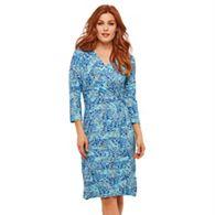 42e4a0cf72f Joe Browns - Blue Floral Jersey  Midnight Sprigs  V-Neck Knee Length Wrap  Dress