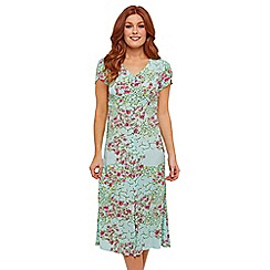 Joe Browns - Pale Green Floral 'Sizzling Summer' V-Neck Midi Dress
