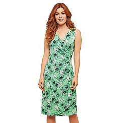 Joe Browns - Green Floral Jersey 'Superbly Flattering' V-Neck Knee Length Wrap Dress