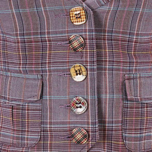 Purple Browns waistcoat cheeky Joe check p5ZqUUw