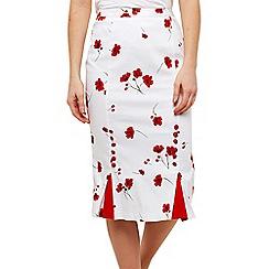 Joe Browns - White Floral 'Vintage Poppy' Pencil Skirt