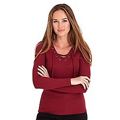 Joe Browns - Dark red lace it up ribbed top