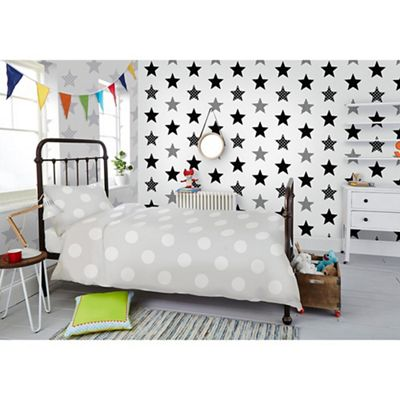 graham brown kids superstar black white star print wallpaper debenhams. Black Bedroom Furniture Sets. Home Design Ideas