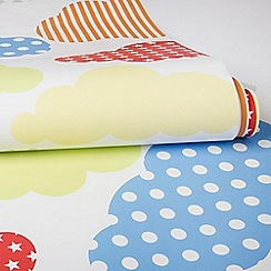 Graham & Brown Kids - Bedroom nursery brights multi coloured marshmallow clouds print wallpaper