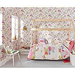 Superfresco Easy - Girls Kids Bedroom Nursery Vintage Olive The Owl Multicoloured Printed Wallpaper