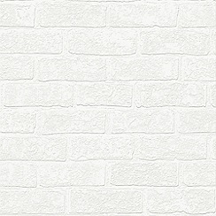 Superfresco - White Urban Brick Effect Paintable Wallpaper