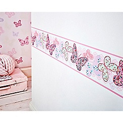 Graham & Brown Kids - Pink Butterfly Wallpaper Border