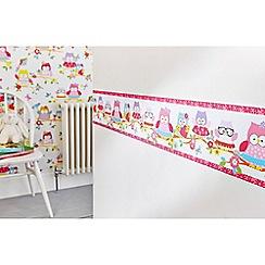 Graham & Brown Kids - Pink Olive The Owl Wallpaper Border