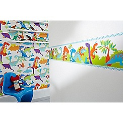 Graham & Brown Kids - Blue Dinoroar Kids Wallpaper Border