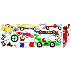 Graham & Brown Kids - Red Car Pit Stop Kids Wall Stickers
