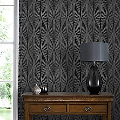 Graham & Brown - Optimum Black & Silver Geometric Print Wallpaper with Glitter Highlights