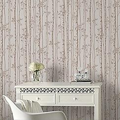 Boutique - Linden Pebble & Rose Gold Branch Tree Print Shimmer Wallpaper
