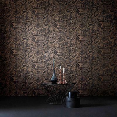 Boutique Marbled Effect Charcoal Rose Gold Metallic Sheen Wallpaper