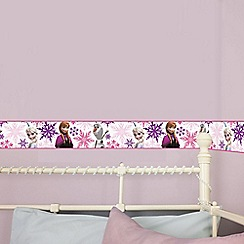 Graham & Brown - Pink Frozen Anna Elsa & Olaf Kids Wallpaper Border