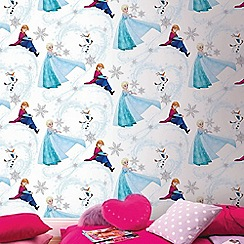 Disney - Blue Frozen Anna Elsa & Olaf Shimmer Wallpaper