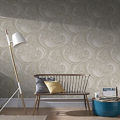 Graham & Brown - Taupe and Champagne Flamenco Wallpaper