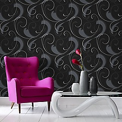 Graham & Brown - Charcoal and Silver Flamenco Wallpaper