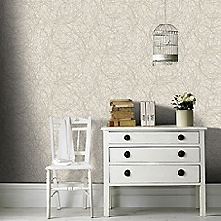 Graham & Brown - Ivory and Gold Twist Wallpaper