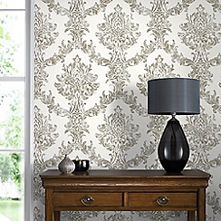 Boutique - White and Gold Opal Damask Wallpaper