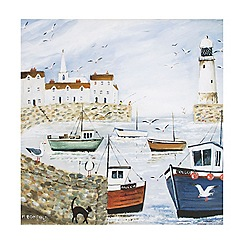 Art for the Home - Harbourside coastal boats lighthouse printed canvas wall art