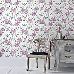 Laurence Llewelyn-Bowen - Pink Singapore Oriental Floral Trail Glitter Wallpaper