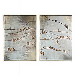 Art for the Home - Gold flock of birds hand painted framed canvas