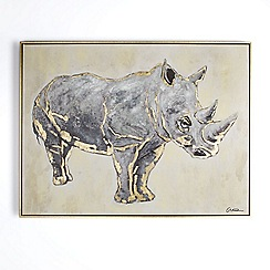 Graham & Brown - Metallic Rhino Hand painted Framed Canvas