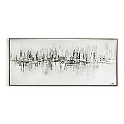 Graham & Brown - Metallic New York Reflections Hand painted Framed Canvas