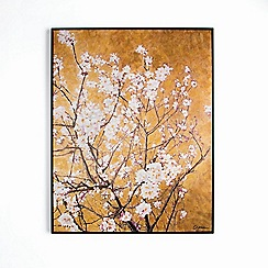 Graham & Brown - Orange Oriental Blossom Hand Painted Framed Canvas