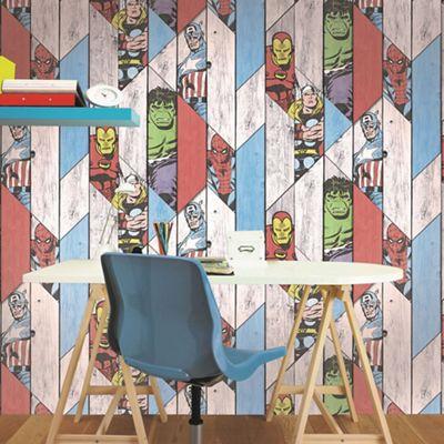 Marvel Wood Effect Wallpaper