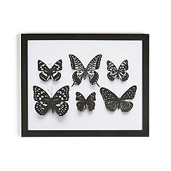 Graham & Brown - Black Botanical Butterflies Framed Print