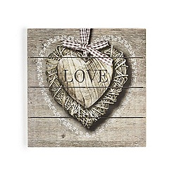 Graham & Brown - Brown love heart printed on wood