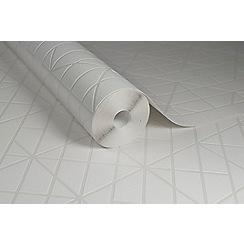 Kelly Hoppen - White 'Linear' Designer Wallpaper