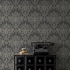 Superfresco Easy - Black victorian damask wallpaper
