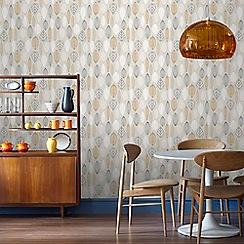 Superfresco Easy - Copper Scandi leaf floral wallpaper