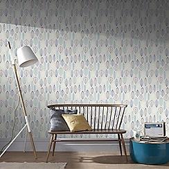 Superfresco Easy - Blue Scandi leaf floral wallpaper