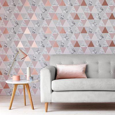 Graham Brown Rose Gold Reflections Geometric Wallpaper