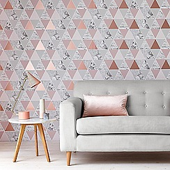 Graham & Brown - Rose Gold Reflections Geometric Wallpaper