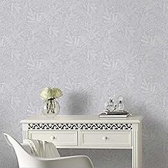 Boutique - Blade silver metallic trail leaf wallpaper
