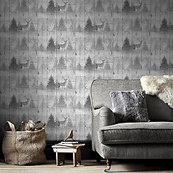 Superfresco Easy - Grey highland stag plank wallpaper