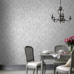 Superfresco Easy - Silver laos trail floral wallpaper