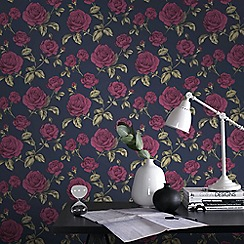 Boutique - Navy boutique countess floral wallpaper