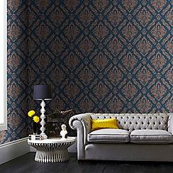 Boutique - Blue/gold boutique damaris damask wallpaper