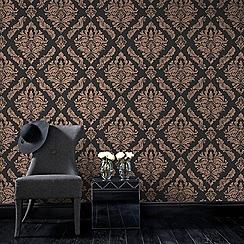 Boutique - Black boutique damaris damask wallpaper